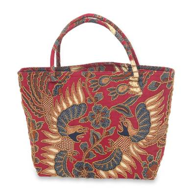Beaded cotton batik shoulder bag, 'Sawunggaling Dance' - Bird Theme Beaded Batik Cotton Shoulder Bag from Bali