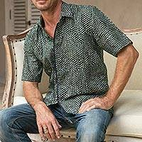 Men's cotton batik shirt, 'Green Coffee' - Men's Moss Green Cotton Batik Shirt with Short Sleeves
