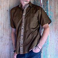 Men's cotton batik shirt, 'Sepia Trendsetter' - Men's Button Down Cotton Batik Short Sleeve Brown Shirt