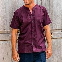 Men's cotton shirt, 'Kintamani' - Collarless Short Sleeve Marsala Brown Mens Cotton Shirt