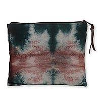 Tie-dyed cotton clutch handbag, 'Island of Java' - Tie Dye Cotton Canvas Clutch Bag Handcrafted in Java