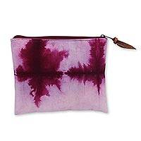 Hand dyed cotton clutch handbag, 'Jogjakarta Love Story' - Tie Dye Burgundy and Off-White Cotton Clutch Bag