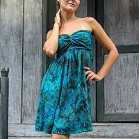 Batik dress, 'Java Tropics' - Green Batik Patterned Empire Waist Strapless Dress