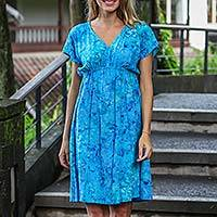 Batik rayon dress, 'Java Twilight' - Artisan Crafted Fresh Blue Batik Rayon Short Dress