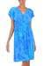 Batik rayon dress, 'Java Twilight' - Artisan Crafted Fresh Blue Batik Rayon Short Dress thumbail