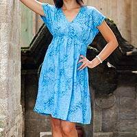 Batik rayon dress, 'Blue Buleleng Jasmine' - Handcrafted Women's Blue Batik Rayon Dress