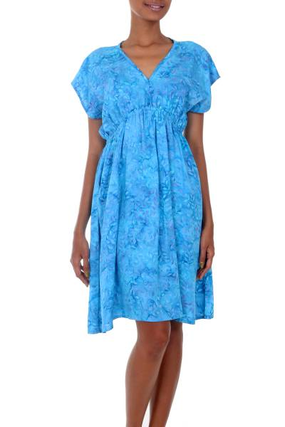 Batik rayon dress, 'Blue Buleleng Jasmine' - Handcrafted Women's Blue Batik Rayon Dress