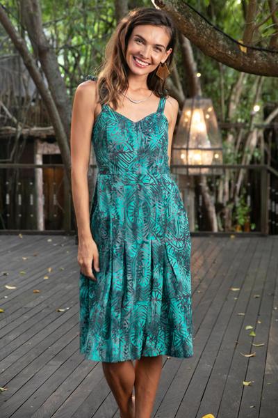ad4ba020fd23 Batik sundress, 'Turquoise Trance' - Elastic Back Turquoise Rayon Batik  Sundress from Bali
