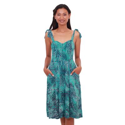 Batik sundress, 'Turquoise Trance' - Elastic Back Turquoise Rayon Batik Sundress from Bali