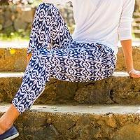 Rayon pants, 'Candidasa Night' - Balinese Hand Stamped Dark Blue and White Drawstring Pants