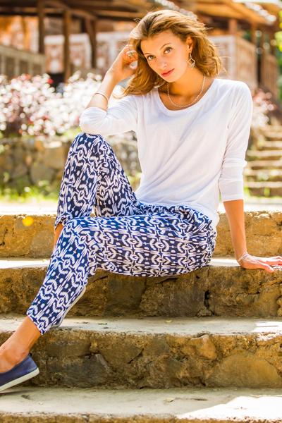 Rayon pants, 'Candidasa Night' - Balinese Hand Stamped Dark Blue and White Drawstring Trouser