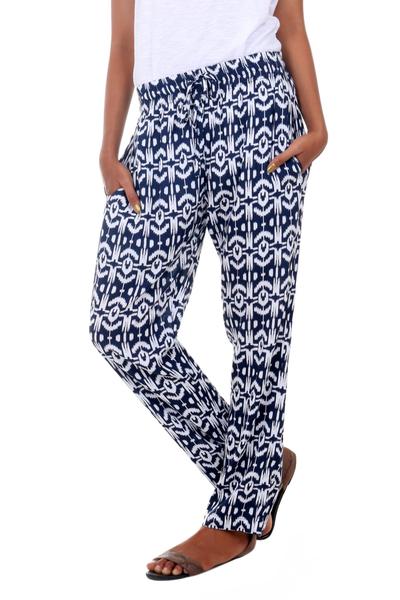 Rayon pants, 'Candidasa Night' - Balinese Hand Stamped Dark Blue and White Drawstring Pants