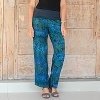 Rayon batik pants, 'Kenanga' - Hand Printed Floral Batik Rayon Trousers from Bali