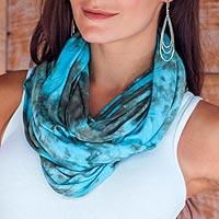 Rayon blend infinity scarf, 'Kintamani Sky' - Turquoise and Taupe Rayon Blend Infinity Scarf and Shrug