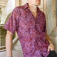 Men's cotton batik shirt, 'Purple Jungle'