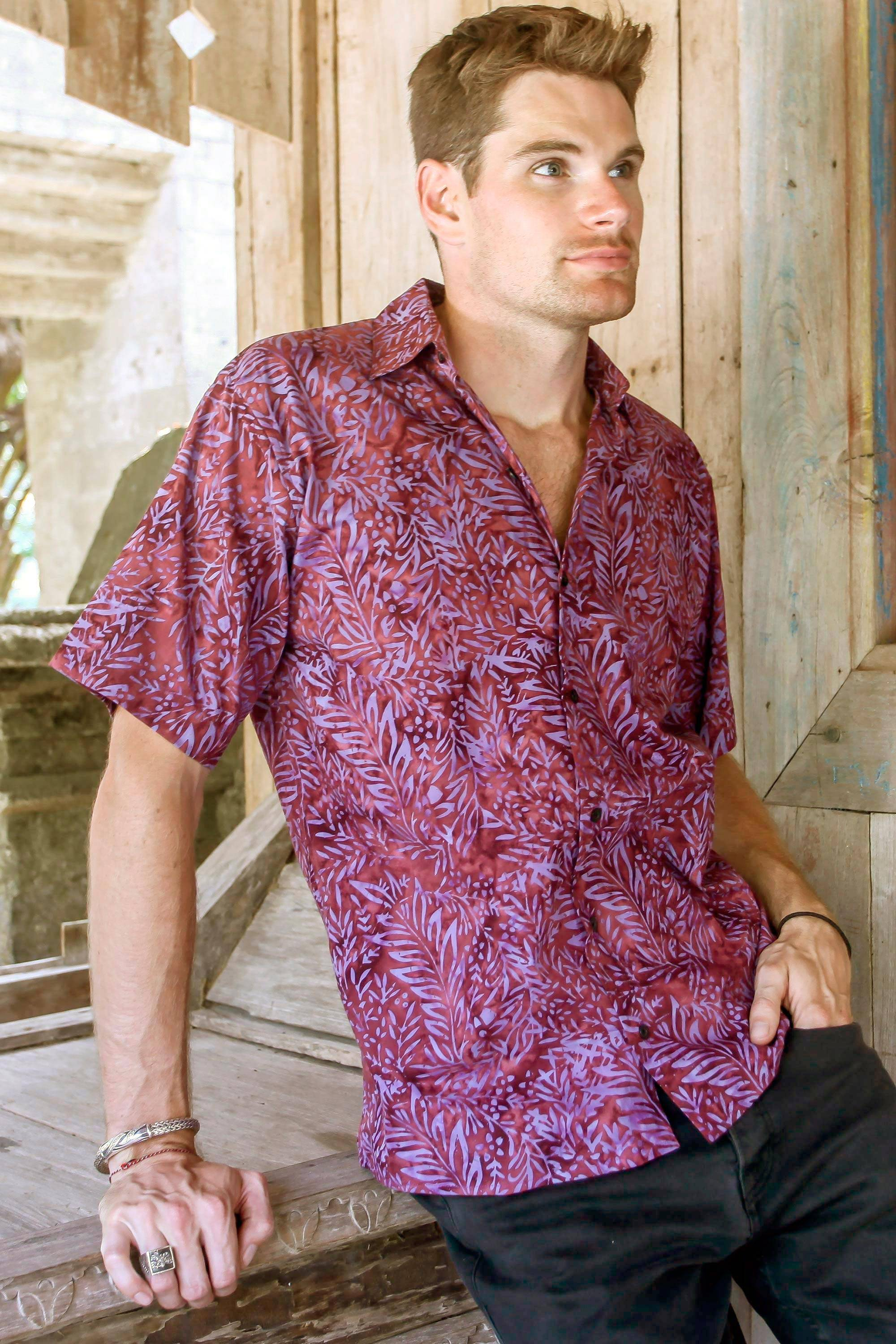 Unicef UK Market Purple and Magenta Cotton Batik Shirt
