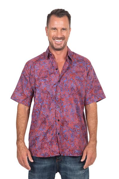 Men's cotton batik shirt, 'Purple Jungle' - Purple and Magenta Cotton Batik Shirt for Men from Bali