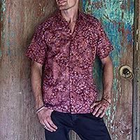Men's cotton batik shirt, 'Light and Shadow'