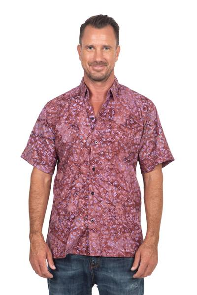 Men's cotton batik shirt, 'Light and Shadow' - Fair Trade Men's Cotton Batik Shirt in Reds from Bali