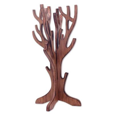 Handcrafted Wooden Tree Style Jewelry Display Stand Tree