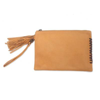 Balinese Handcrafted Light Brown Leather Wristlet Purse