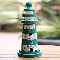 Wood key cabinet, 'Green Beacon' (11.5 inch) - Wood Lighthouse Theme Key Cabinet in Green (11.5 Inch)