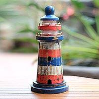 Wood key cabinet, 'Lighthouse Guardian' (11.5 inch) - Red and Blue Striped Wood Lighthouse Key Cabinet (11.5 Inch)
