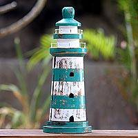 Wood key cabinet, 'Green Beacon' (19 inch) - Handmade Wood Lighthouse Theme Key Holder (19 Inch)