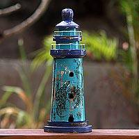 Wood key cabinet, 'Blue Lighthouse Lizard' (19 inch) - Balinese Blue Handcrafted Key Holder with Lizards (19 Inch)