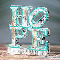 Wood sculpture, 'Iconic Hope in Green' - Hope Whitewashed and Green Wood Sculpture 70s Style Pop Art