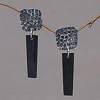Sterling silver and horn dangle earrings, 'Black Dawn' - Handcrafted Sterling Silver and Black Horn Earrings