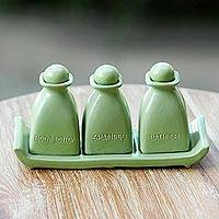 Ceramic bath accessory set, 'Bali Green' (4 pcs) - Handcrafted Green Ceramic 4 Piece Bath Accessory Set