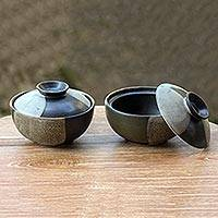Ceramic lidded bowls, 'Bold Contrasts' (pair) - Hand Crafted Black and Grey Ceramic Bowls and Lids (Pair)