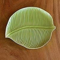Ceramic plate, 'Jungle Banana Leaf' - Light Green Banana Serving Plate by Balinese Fair Trade Arti