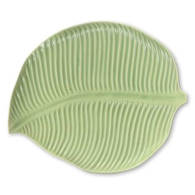 Ceramic plate, 'Jungle Banana Leaf' - Handmade Ceramic Leaf Plate with Light Green Glaze