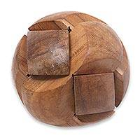 Wood puzzle, 'Tennis Ball' - Handmade Teak Wood Round Puzzle from Indonesia