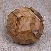 Wood puzzle, 'Soccer Ball' - Fair Trade Round Hand Carved Teakwood Puzzle Ball