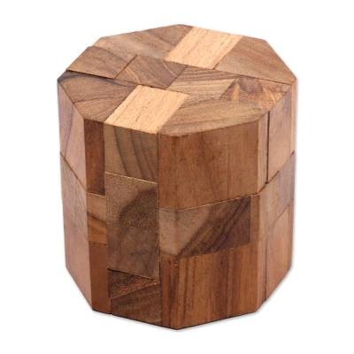 Teakwood puzzle, 'Octagon' - Handcrafted Teak Wood Executive Desk Puzzle Brainteaser