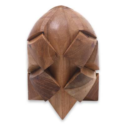 Teakwood puzzle, 'Little Rocket' - Fair Trade Carved Teakwood Brainteaser Puzzle from Java