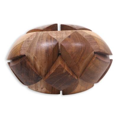 Teakwood puzzle, 'Small Pillow' - Artisan Crafted Wooden Puzzle or Executive Desk Game