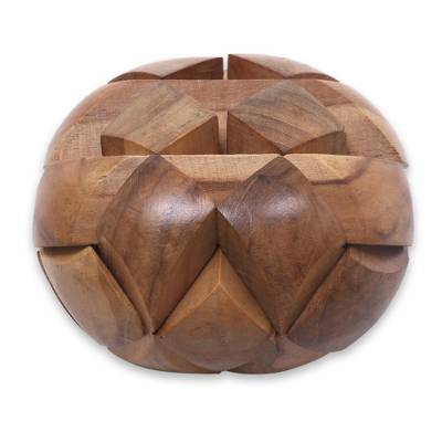 Teakwood puzzle, 'Big Pillow' - Javanese Artisan Crafted Wooden Block Puzzle