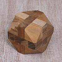 Teak wood puzzle, 'Truncated Cube' - Natural Teakwood Block Puzzle Handmade in Java