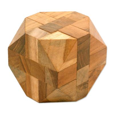 Teakwood puzzle, 'Truncated Cube' - Natural Teakwood Block Puzzle Handmade in Java
