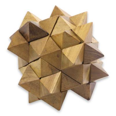 Teakwood puzzle, '3D Star' - Challenging Teakwood Mini Puzzle from Javanese Artisan