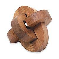 Teakwood puzzle, 'Chain Hook' - Small Wooden Pub Game Puzzle from Javanese Artisan