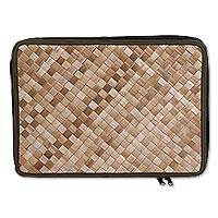 Pandan leaf laptop sleeve, 'Uluwatu Pandan in Loden' (15 in) - Natural Fiber and Cotton 15 Inch Laptop Sleeve from Bali