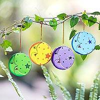 Wood ornaments, 'Moon and Star' (set of 4) - Fair Trade Hand Painted Moon and Star Ornaments (Set of 4)