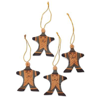 Wood ornaments, 'Happy Blue Santa' (set of 4) - Set of 4 Blue Santa Christmas Ornaments Handpainted in Bali
