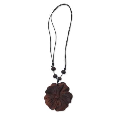Wood pendant necklace, 'Shoe Flower' - Wood Flower Pendant Necklace Carved by Hand
