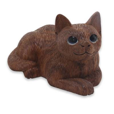 Charming Hand Carved Wood Sculpture of Long Haired Cat